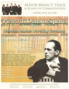 Pietro Di Donato Ceremony Poster, Union City, May 22, 2010
